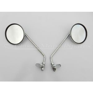 Pair Chrome Classic Retro Mirrors for Bicycle, Moped - Mobylette, Raleigh, Velo Solex