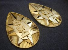 BSA B25 / A65 Gold Pear Shaped (Pair of) Metal Tank Badges (Made in England)